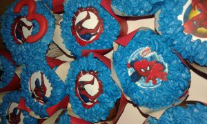 Spiderman printed cupcakes