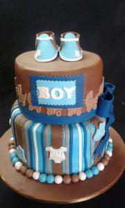 "2-tier ""It's a Boy"" christening cake"