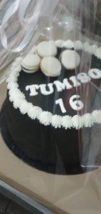 elegant black birthday cake