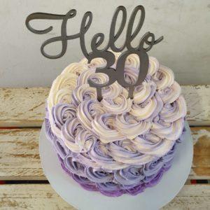 purple rose gradient birthday cake