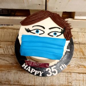 funny mask birthday cake