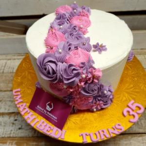 flower layout birthday cake