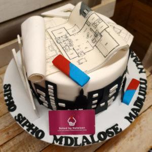 black and white city architect cake
