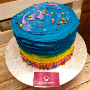 blue and yellow birthday cake