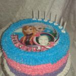 "Round ""Frozen"" theme cake with printed topper"
