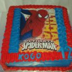 "Square ""Spiderman"" theme birthday cake with printed topper"