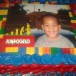 Lego cake with printed centre photo
