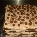 Chocolate layer cake with chocolate cream frosting and whisper topping