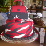 Black and red handbag & shoe cake